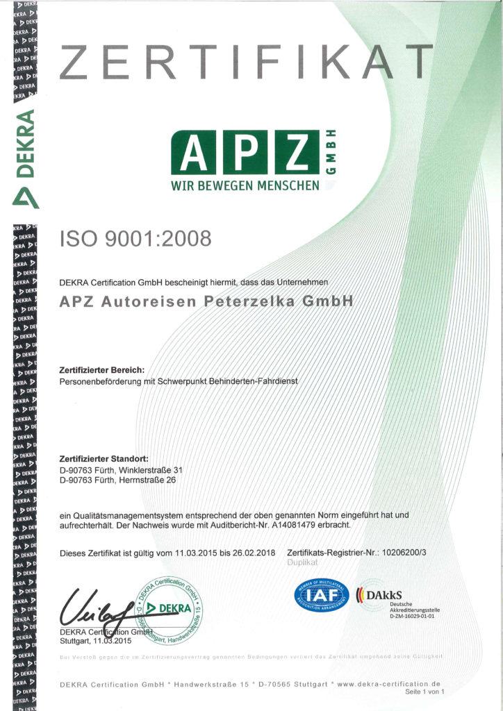 Zertifikat ISO 9001:2008